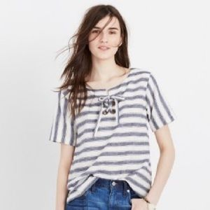 Madewell Striped Lace Up Shirt